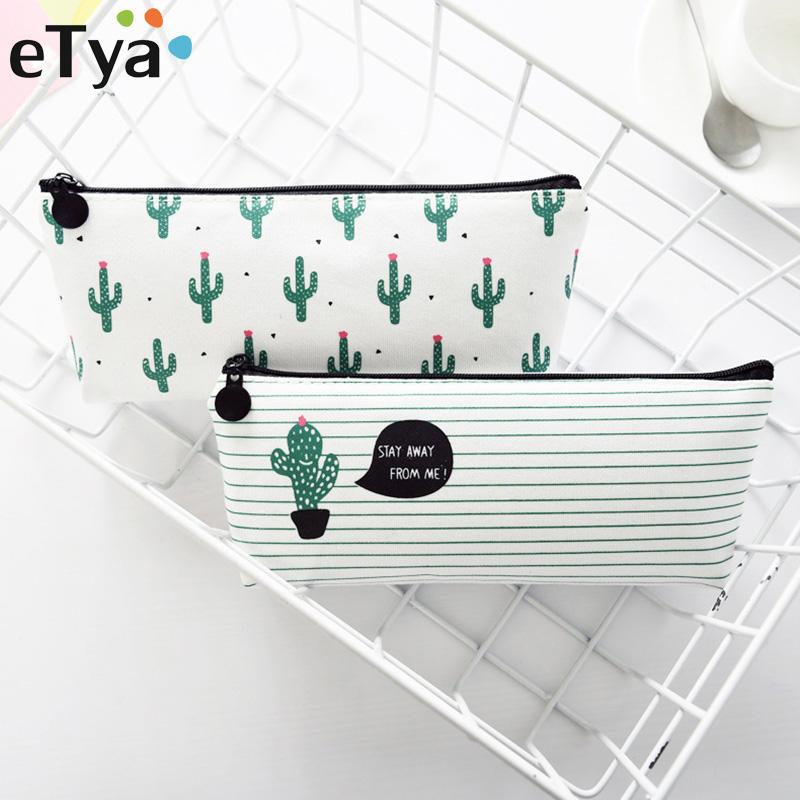 eTya Quality New Style Coin Purses Women Pencil Storage Pouch Purse Organizer Cute Cactus Printing Makeup Bag Gift Students BagseTya Quality New Style Coin Purses Women Pencil Storage Pouch Purse Organizer Cute Cactus Printing Makeup Bag Gift Students Bags