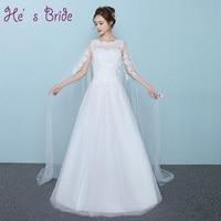 Vestido de noiva com Véu Ombro Personalizado Plus Size O Novo 2017 Até O Chão Vestido de Casamento Do Laço Appliqued Vestido De Novia