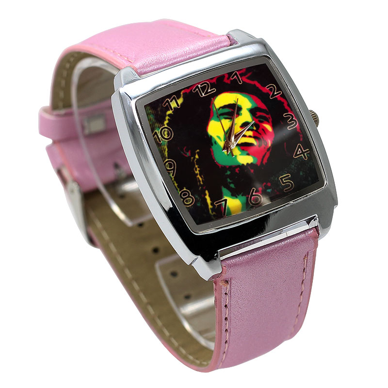 Square Large Dial Personality Watch Boy Moving Watch 3D Abstract Cartoon Girl Sky Blue Leather Quartz Clock Kids Birthday Gift
