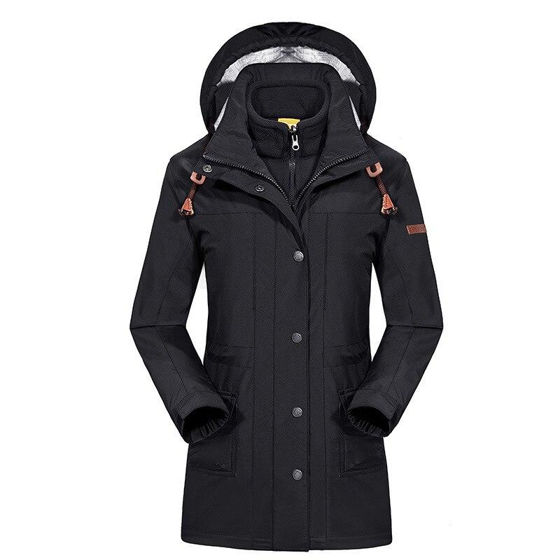 Fashion Womens Outerwear 3in1 Winter Fleece Liner Windbreaker Waterproof Jacket Women Casual Long Coat Outdoors Casaco Feminino