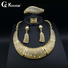 Fashion wedding jewelry sets Women shiny African beads Dubai gold-color exaggerate Bridal Necklace Bangle tassel earrings Ring fashion women bridal dubai gold plated wedding jewelry sets african beads accessories exaggerate necklace bangle earrings ring