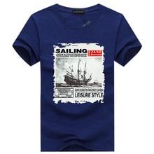 New 2017 summer fashion print t shirt men sailboat soft cotton t-shirt mens short sleeve tshirt brand clothing Top quality
