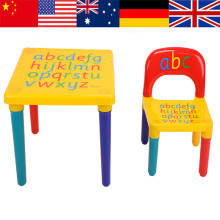 mesa y sillas para ninos Chair Set For Kid/Children Furniture Sets ABC Alphabet Plastic Table Dinner Picnic Desk Seat Furniture(China)