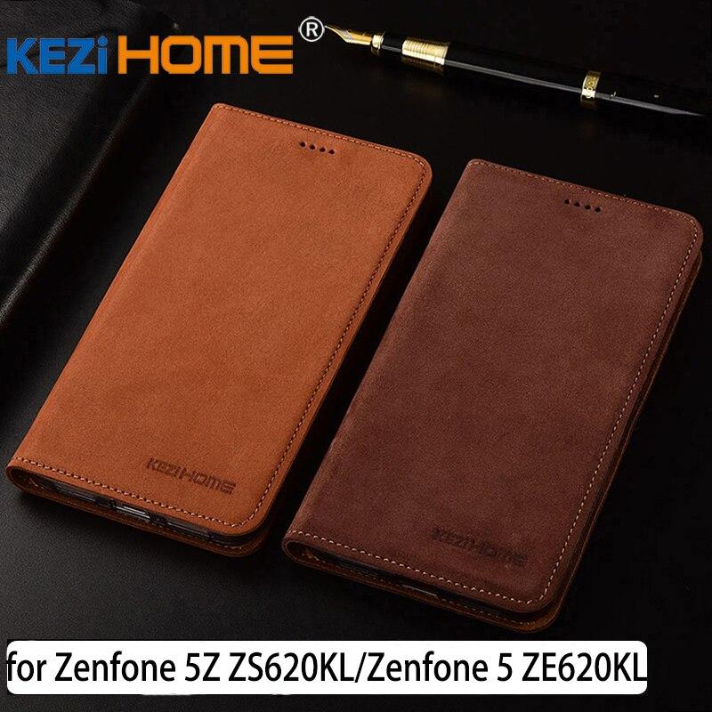 for Asus ZenFone 5Z ZS620KL case Flip matte genuine leather soft TPU back cover for ASUS Zenfone 5 ZE620KL coque