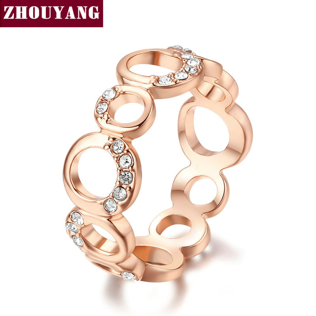 Top Quality Concise Crystal Ring Champagne Rose Gold Color Austrian Crystals Ful