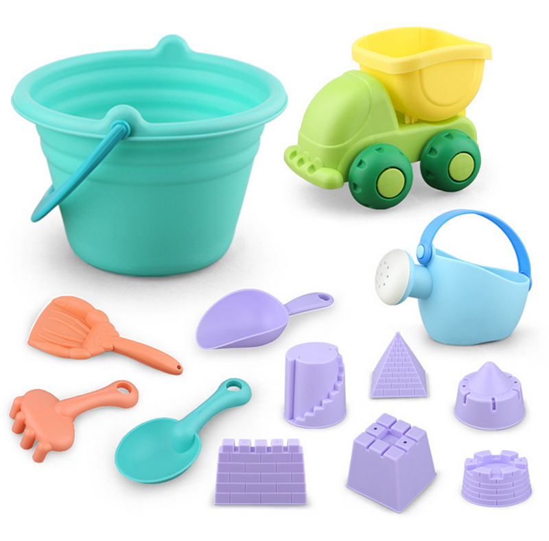Beach Sand Toys Set For Toddlers/Kids With Bucket And Watering Can By Seaside Or Pool 12 PCS/ Set (Random Color)