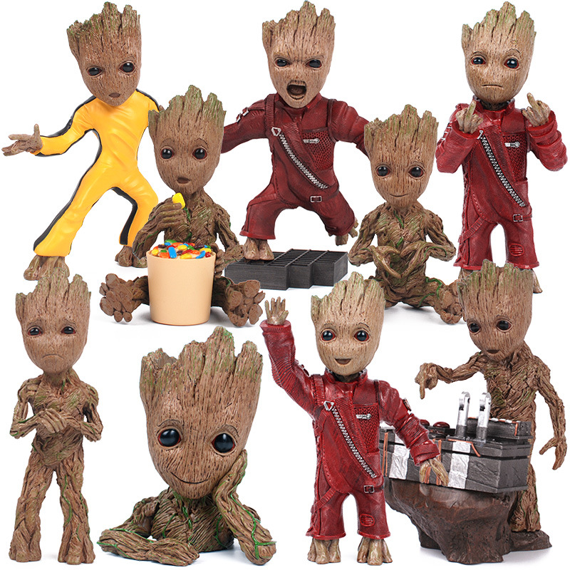 New Arrival 17.5cm Expressions Groot Figure Toy Marvel Movie Guardians of the Galaxy Anime Tree Man Resin Collection Model Boy  new arrivals hote cute guardians of the galaxy 2 groot statue figure collectible model toy 9 types children gifts