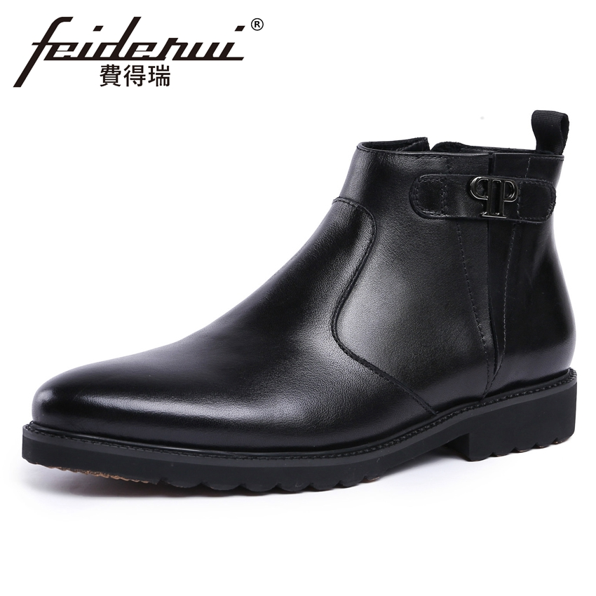New British Designer Genuine Leather Mens Handmade Ankle Boots Round Toe Platform Martin ...