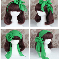2016 New Multifunctional Mori Girl Women Chiffon Long Wide Scarf Hairband Flower Hair Accessory Solid Color Headwear Bandeaus