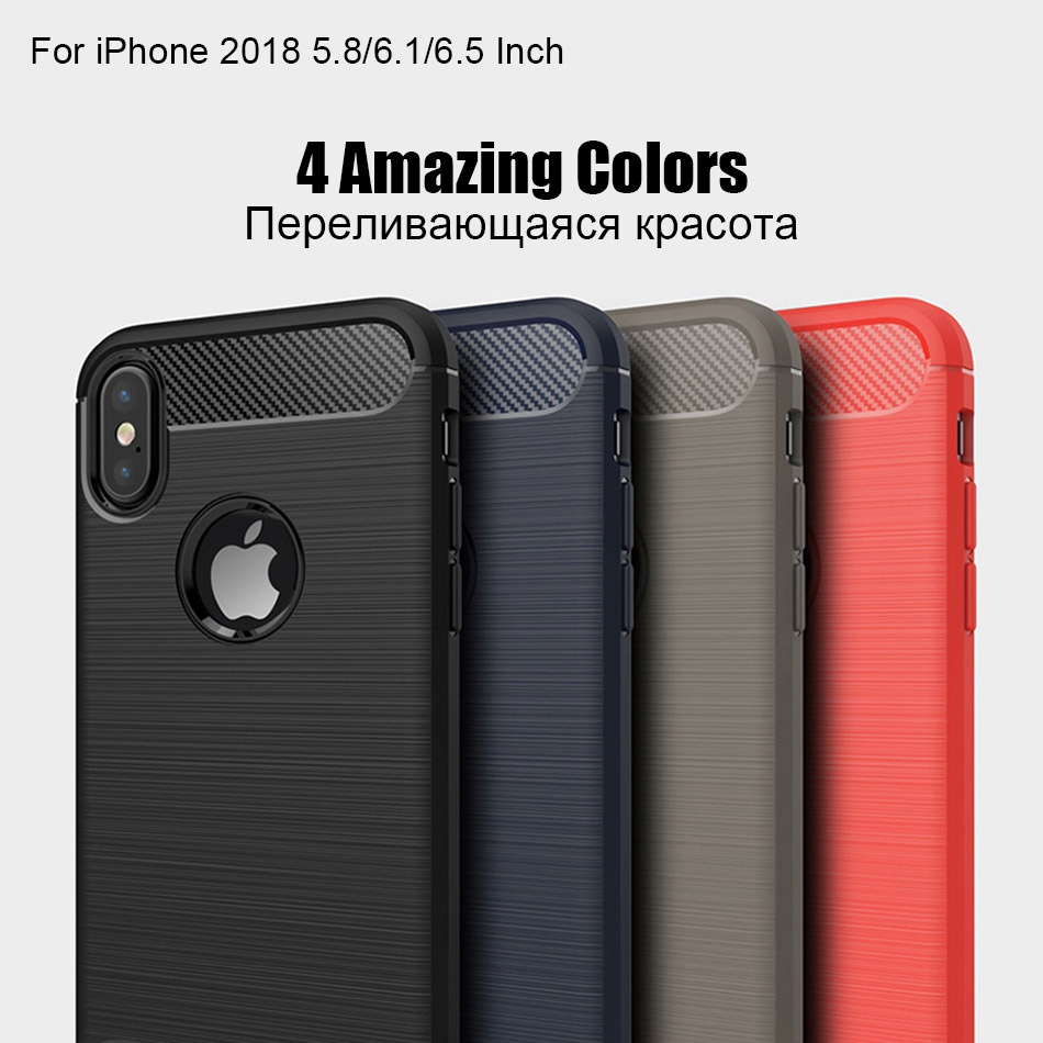 TOMKAS Phone Case Carbon Fiber Cover For iPhone XS Plus X 2018 5.8 6.1 6.5 Inch Soft TPU Silicon Case Protective Back Cover 2018 (10)