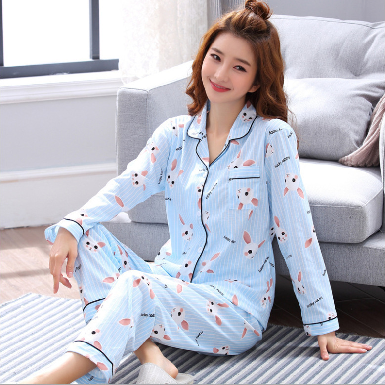 Foply Women's Sleepwear Cotton   Pajamas     Sets   Long Sleeve Top + Pants Summer Spring Cute 2 Pieces Pyjama Pj   Sets   Ladies Bathrobe