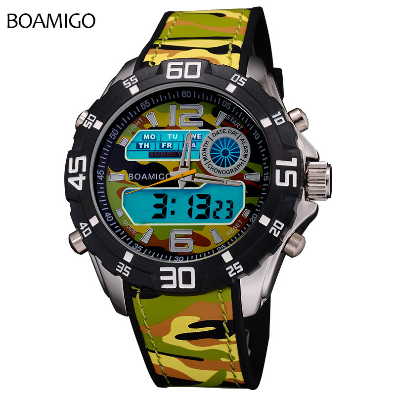 Prix pour Camouflage militaire de l'armée hommes sport montres double affichage quartz numérique led montre de bain étanche boamigo en caoutchouc montres