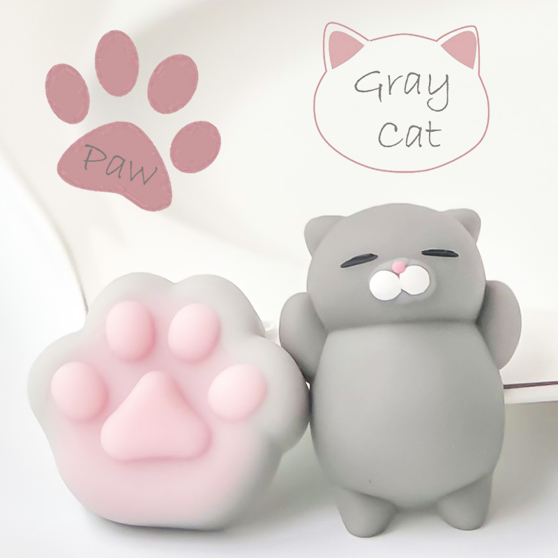 FGHGF 2PCS Squishy Toy Squishy Kawaii Squeeze Toy Unny Kids Toys Best Gift Mini Squishy Toy Gray Cat Cute  Y1852403