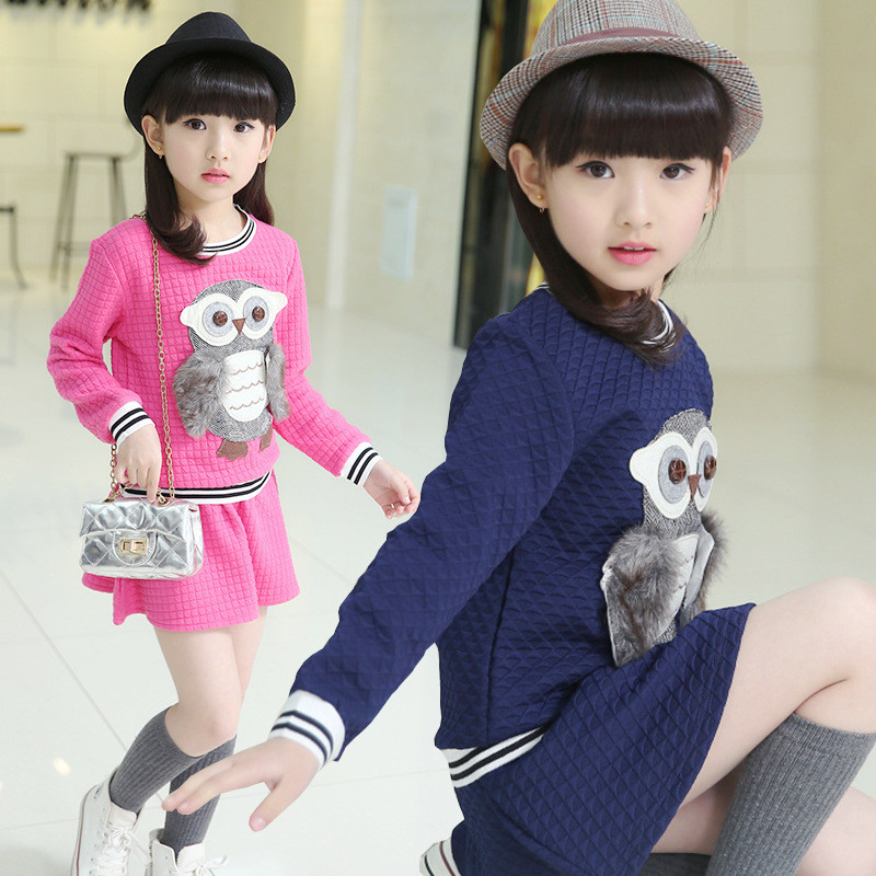 Baby girls clothing dress set cotton owl pattern 2 pcs girl costume long sleeve girls sport suit kids clothes tracksuit 3 colour fashion kids baby girl dress clothes grey sweater top with dresses costume cotton children clothing girls set 2 pcs 2 7 years