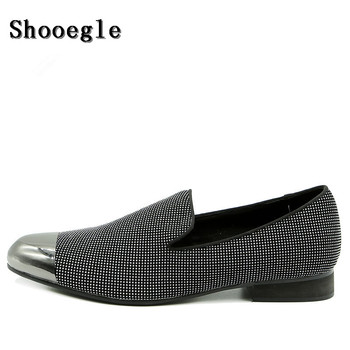 SHOOEGLE Men Foreign Trade Custom Shoes Slip On Casual Metal Toe Slipper Men Shoes Fashion Breathable Nightclub Stage Shoes Man