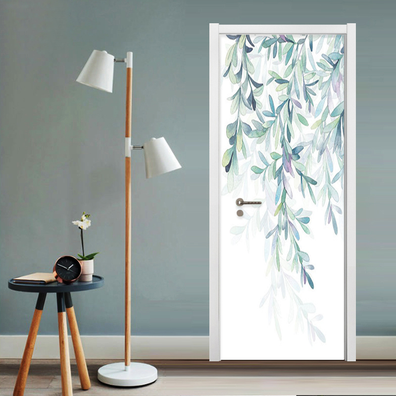 Nordic Style Modern Simple Leaves Wallpaper 3D Living Room Bedroom Door Sticker Creative Home Decor Wall Murals Papel De Parede