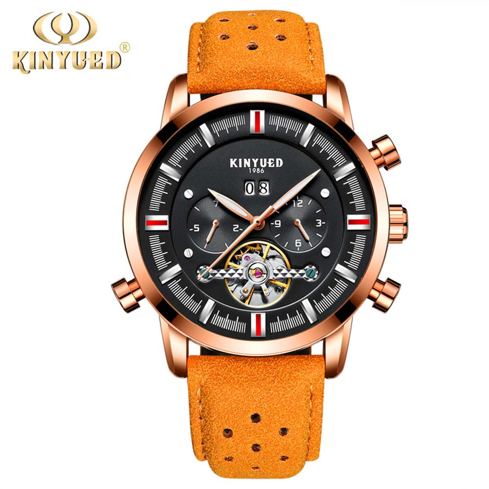 New Kinyued Skeleton Tourbillon Mechanical Watch Automatic Men Classic Rose Gold Leather Mechanical Wrist Watches Reloj Hombre 02 champagne
