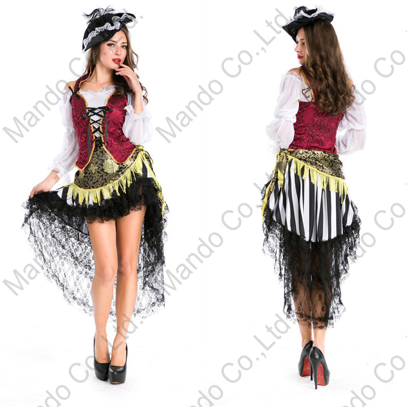 Adult Women Sexy Viking Pirate cosplay costume dress halloween Fancy outfit Girls Masquerade party costume Dress