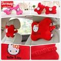 2 PCS de Algodão de Pelúcia Bonito Pescoço Travesseiro Encosto de cabeça Do Carro Acessórios Do Carro Olá Kitty Pink & Red