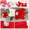 2PCS Plush Cotton Cute Car Neck Pillow Headrest Hello Kitty Car Accessories Pink & Red