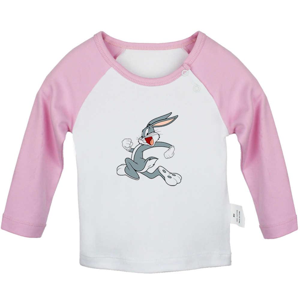 Футболки для новорожденных с изображением милых кроликов, Жуков, кролика и Твити, птиц, черного цвета, кота футболка с длинными рукавами для малышей с графическим рисунком реглан