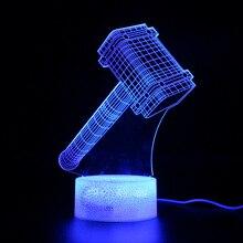 Thor Hammer Lamp Avengers Endgame Party Decoration 3D Table Projection Night Light Marvel Legends
