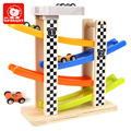Kid's Soft Montessori Wooden Racing Track Vehicle Blocks Toy Set With 4 Mini Car Brand Top Bright High Quanlity Gift For Child