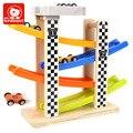 Montessori De Madeira do miúdo Macio Pista de Corrida Veículo Blocos Toy Set Com 4 Mini Carro Da Marca Top Brilhante de Alta Quanlity Presente Para Criança