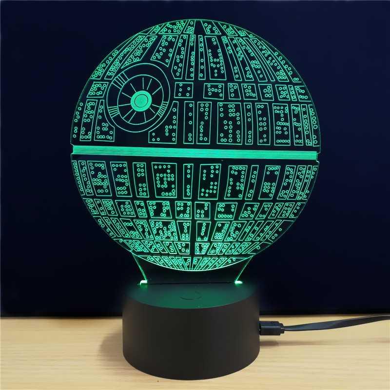 Brilho Criativo 3D CONDUZIU a Lâmpada Lâmpada De Tabela Da Forma Da Estrela Da Morte