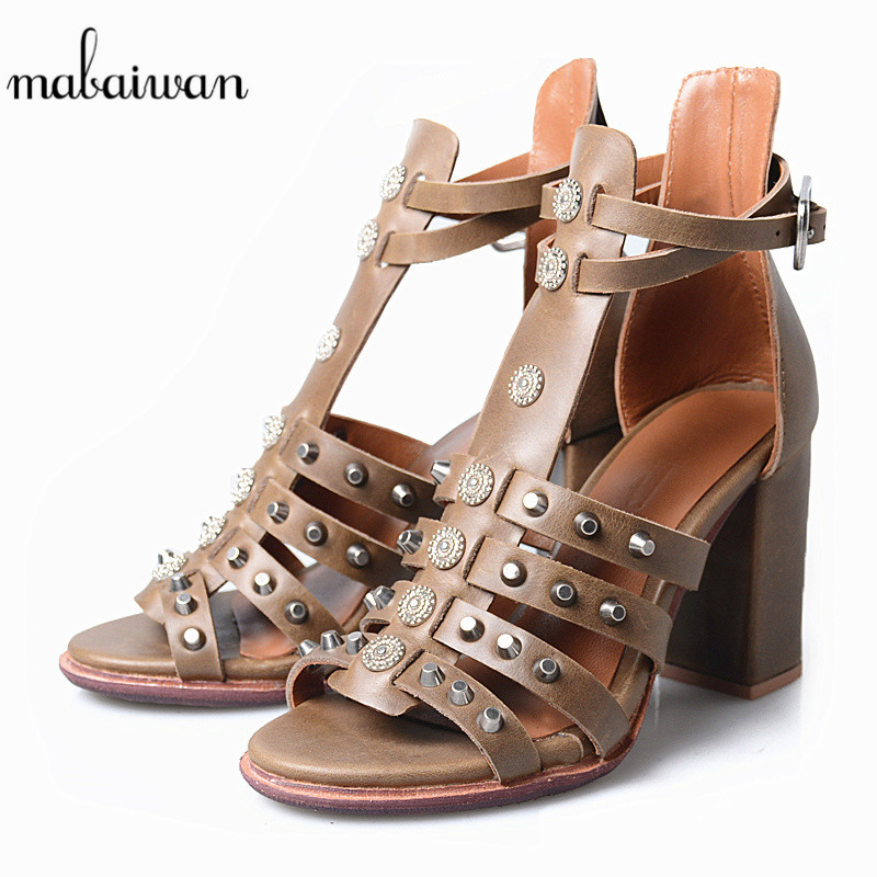 все цены на Mabaiwan Women Summer Sandals High Heel Genuine Leather Dress Cross Rivets Shoes Women Peep Toe Buckle Strap Ankle Boots Pumps