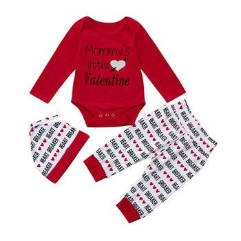 2018 для новорожденных для маленьких мальчиков комбинезон с надписью + Брюки для девочек + шляпа День Святого Валентина комплект одежды Тип за...