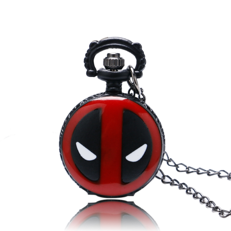 New Arrival Steampunk Small Size Deadpool Round Quartz Pocket Watch Male Black Fob Clock Gift For Unisex Necklace Accessory Loki