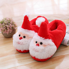 Autumn and winter home Santa Claus couples thick wooden floor cotton slippers cotton shoes men and women Christmas gifts