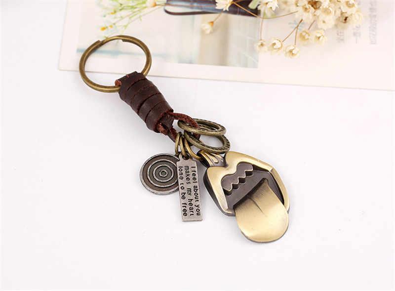 ZORCVENS Rocha Língua Grande Keychain Bolsas Pingente Artesanal Genuína Chave Chaveiro de Couro Anel de Jóias para Presentes Mulheres Homens