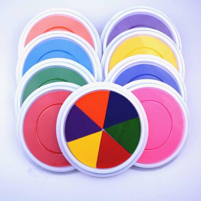Large Round Ink Pad Stamp Kids Finger Painting Craft Card Making Game Toys