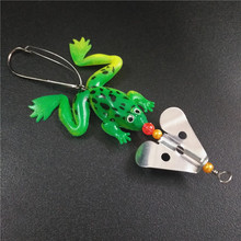 8cm 6g Soft Rubber Frog Fishing Lure Bass CrankBait 3D Eye Simulation Frog Spinner Spoon Bait Fishing Tackle Accessories