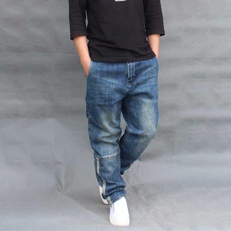 Hip Hop Harem   Jeans   Men Loose Baggy Patchwork Denim Pants Side Stripe Plus Size Men Clothes Joggers Trousers