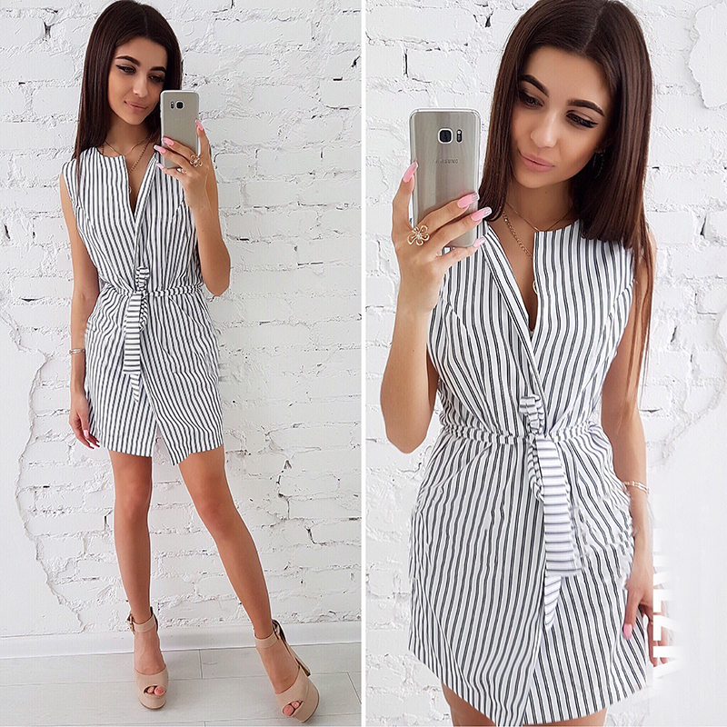 c883013968 Fashion Women Blue White Striped Summer Dress 2018 Sexy V Neck Sleeveless  Shirt Dresses New Arrival Casual Female Party Dress-in Dresses from Women s  ...