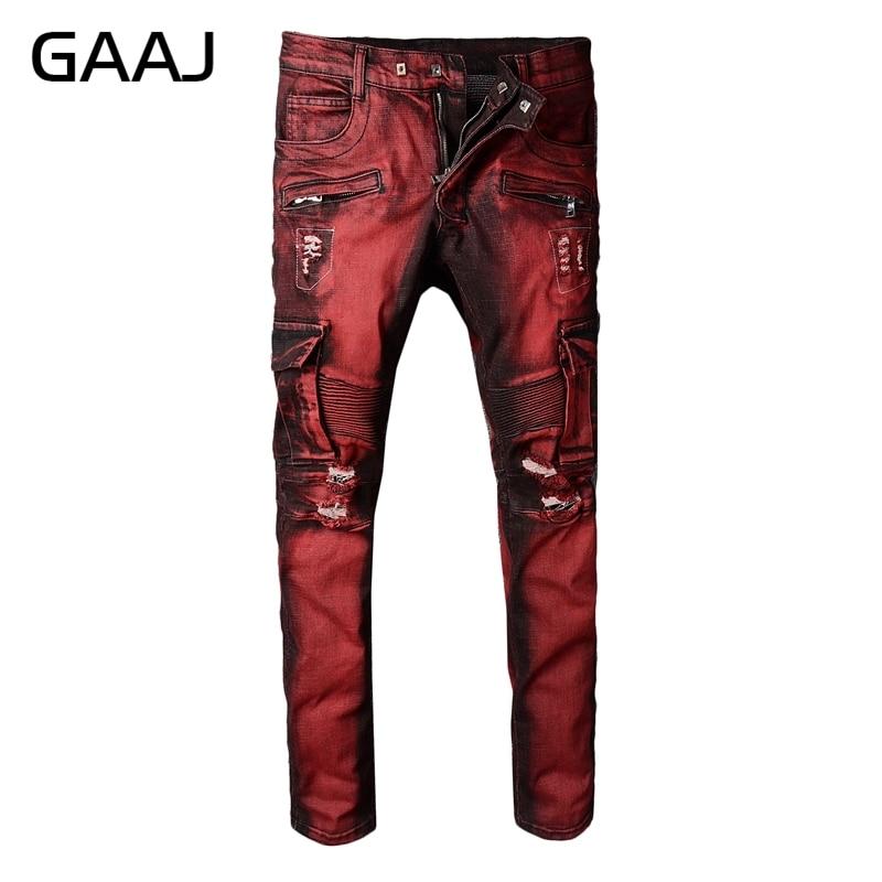 Erkek Kıyafeti'ten Kot Pant.'de GAAJ ünlü tasarımcı marka erkek kırmızı cep kargo biker kot motosiklet ince delik yırtık sıkıntılı streç kot pantolon HR9KX #'da  Grup 1