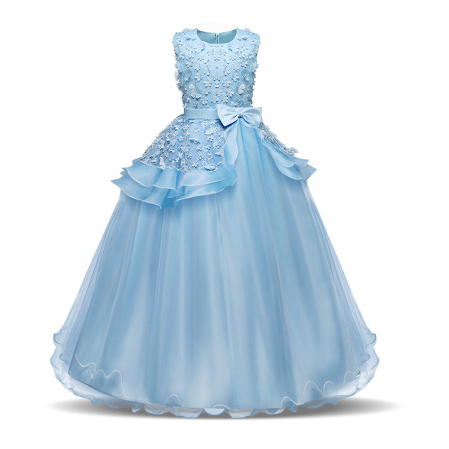 Flower Girl's Birthday Banquet Formal Children Dress Kids Dresses for Girl Wedding Long Teenage Girl First Communion Lace Gown