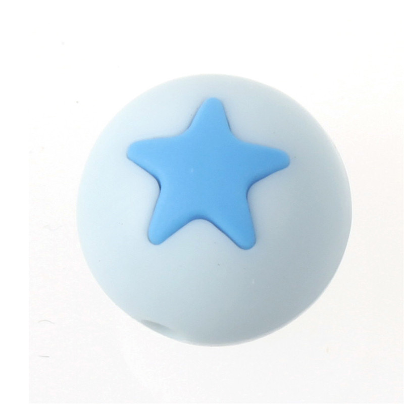 50PCS Round Star Silicone Teething Beads 15MM DIY Baby Tooth Chew Necklace Loose Beads Baby Teether Teething