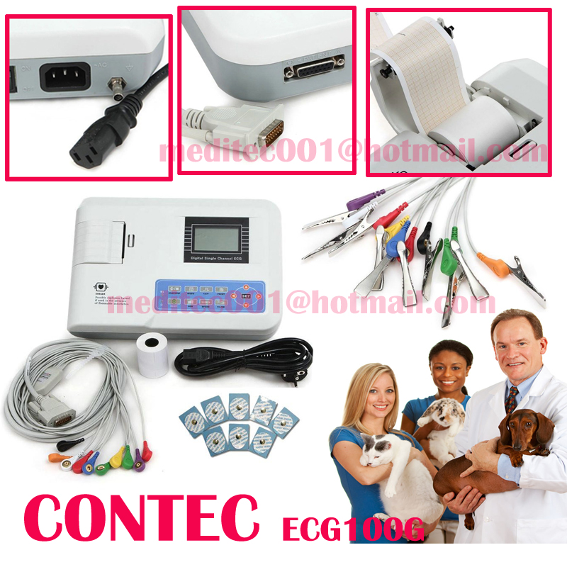 FDA CE CONTEC CMS100G ECG100G Vet Veterinary pet animal  Single Channel one channel 12 LEAD EKG  heart monitor holter machine health care ce easy handheld ecg ekg portable mini pc 80b lcd heart ekg monitor continuous measuring function usb