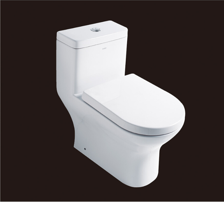2016 hot sales water closet one-piece S-trap ceramic toilets with PVC adaptor PP soft close seat AST353 UPC certificate