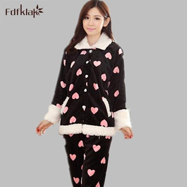 bdab1ef83 Mulher pijamas de inverno pijamas de flanela define bonito encantador pijama  feminino pijamas longo luva pijama femme pijama das senhoras Q0773 em  Conjuntos ...