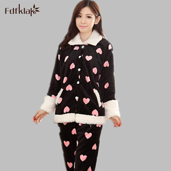 c9621c4f57 Woman pyjamas winter flannel pajamas sets cute lovely pijama female  sleepwear long-sleeve pyjama femme ladies pyjamas Q0773