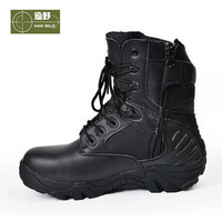 HANWILD Men Outdoor Breathable Athletic Shoes Tactical Boots Combat Military Boots Hiking Shoes Leather Men Waterproof