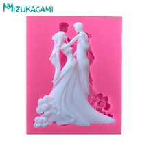 цена на Liquid Silicone Mold  Edding Cake Decoration Bride Groom Molding Fondant Cake Decoration Mold DIY Kitchen Baking Tool MJ-01174