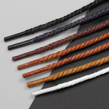 2018 Waxed Stripped Round Shoelaces  Colored Cotton Waterproof Unisex Strings Cord Sport Leather Sneaker Martin Boots Shoe Laces