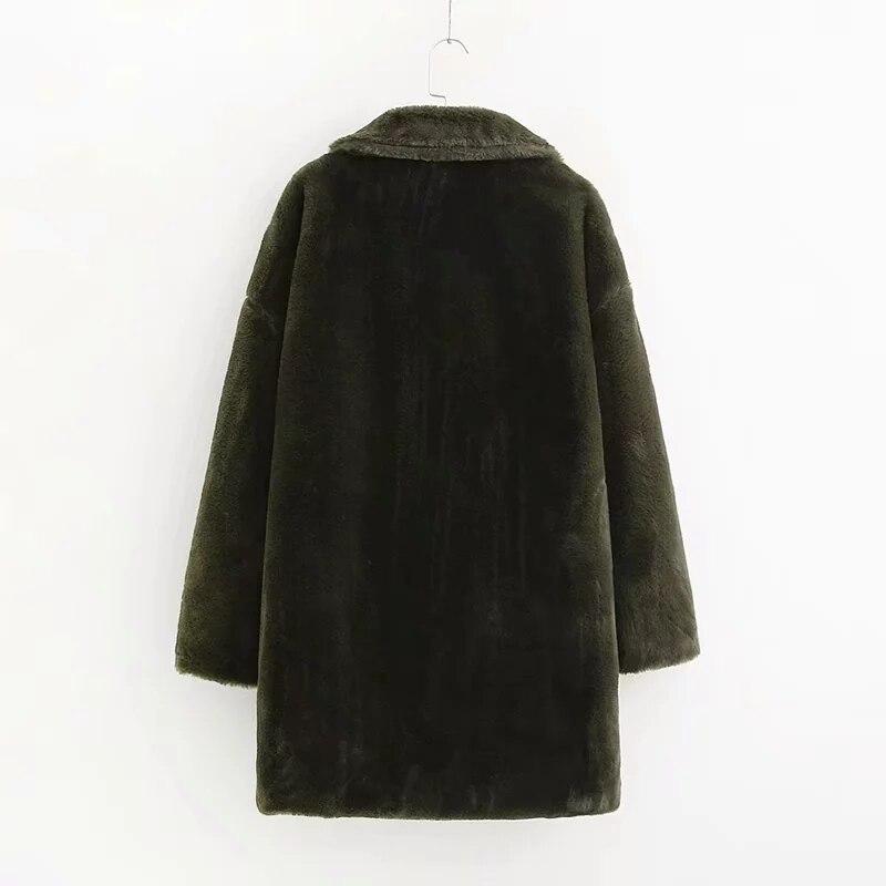 Femmes de fourrure de lapin manteau D'hiver vert faux manteau de fourrure femmes Chaud en peluche manteau à manches longues épaisse fourrure veste long manteau outwear 2019 - 3