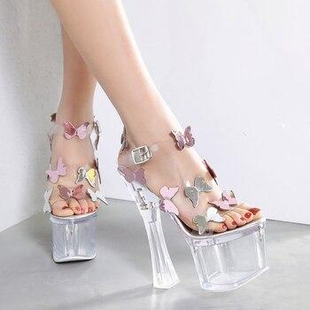 mejor servicio 354d2 2b9c2 18 cm tacones transparentes moda nueva mariposa Sandalias de tacón alto PVC  sandalias de plataforma transparentes zapatos de fiesta de verano para ...